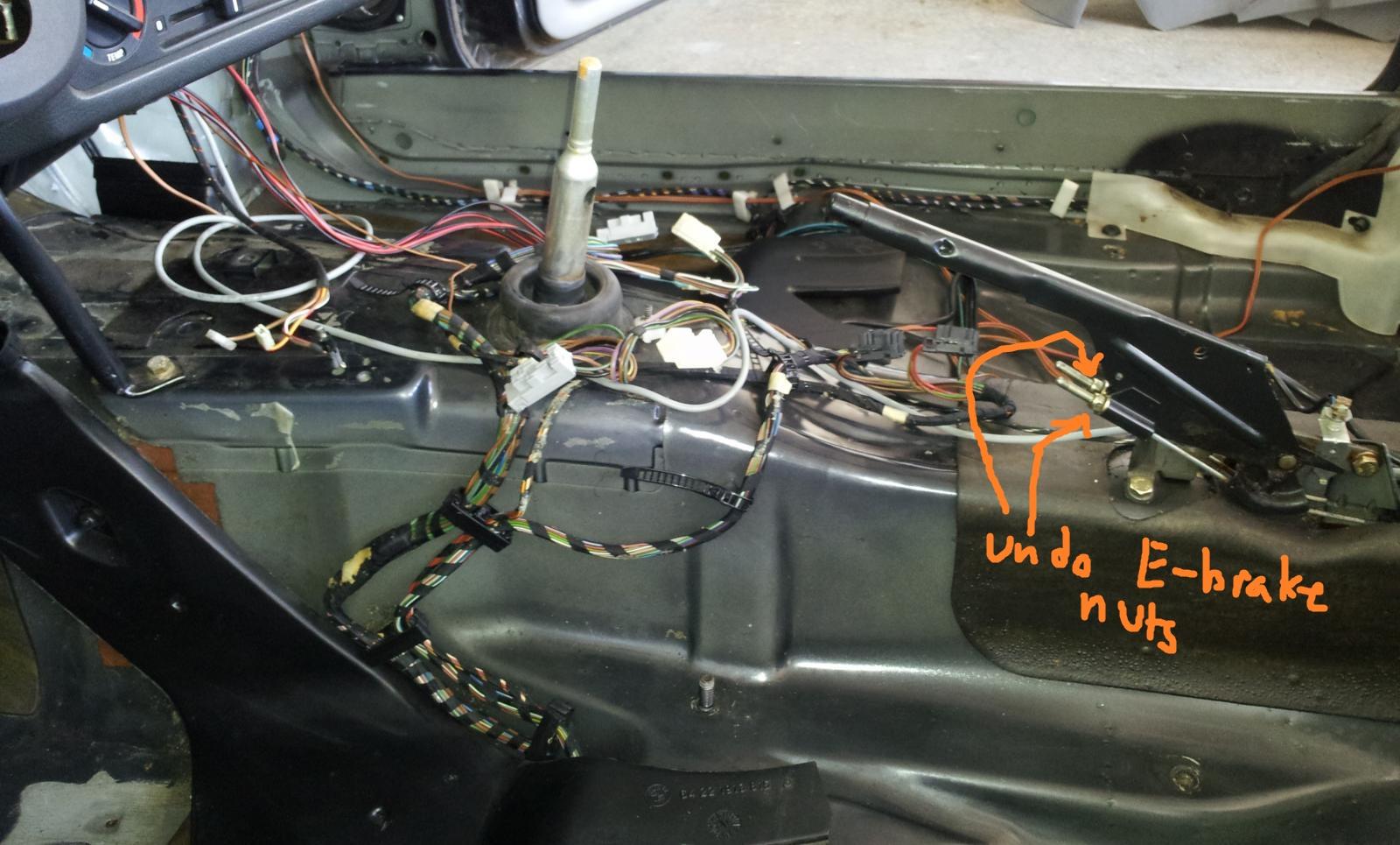 E30 Subframe removal - e-brake adjustment nuts